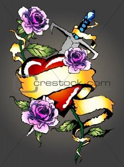 classic heart and rose emblem