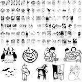 Halloween set of black sketch. Part 1.