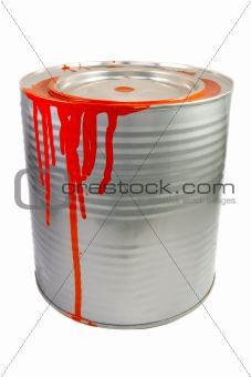 Tin of a red paint