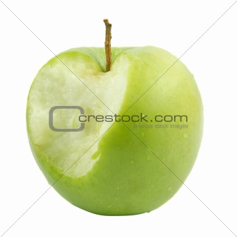 Green apple bit. Isolated over white .