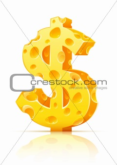 dollar currency sign made of yellow porous cheese with holes