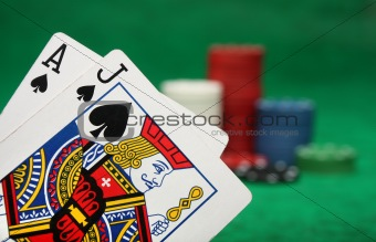 Blackjack with gambling chips