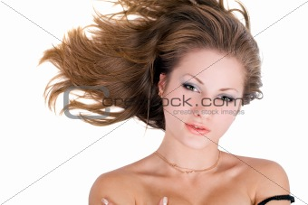 Portrait of the young beauty woman over white