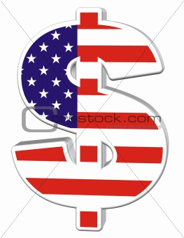 3D Dollar with US Flag