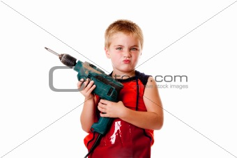 Boy kid with drill