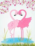 illustration cute romantic waterbird