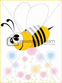 background with floral, bee