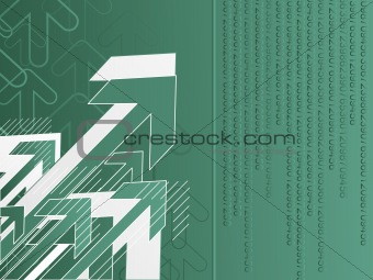 green halftome background with arrow
