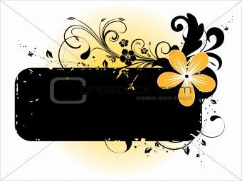 black floral design banner, vector illustration