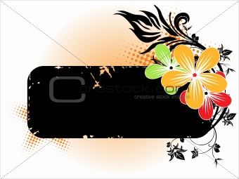 background with floral banner
