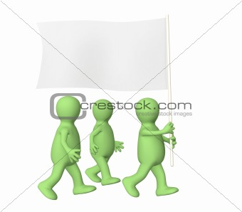 Group puppets, going with a flag