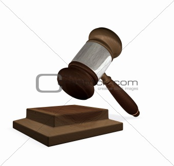 3d render magistrates gavel and block