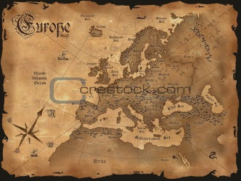 Europe map in retro style