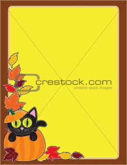 Black Cat Pumpkin Border