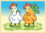 Funny Rooster and Hen
