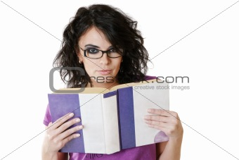 Attractive woman reading book