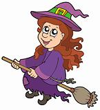 Cute witch flying on broom