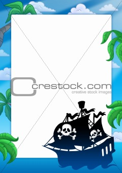 Frame with pirate ship silhouette