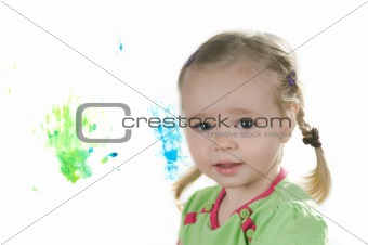 A little girl in studio