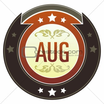 August Month on Brown Button