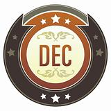 December Month on Brown Button