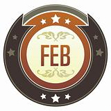 February Month on Brown Button