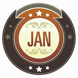 January Month on Brown Button