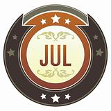 July Month on Brown Button