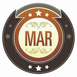 March Month on Brown Button