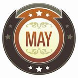 May Month on Brown Button