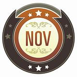 November Month on Brown Button