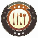 Eating Utensils on Brown Button