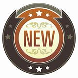 Word New on Brown Button