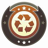 Recycle Symbol on Brown Button