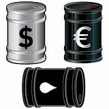 Barrels with Dollar Euro and Water Drop Symbols