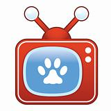 Paw Print on Retro TV