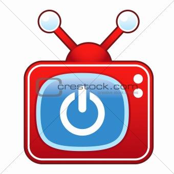 Power Icon on Retro TV