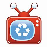 Recycle Symbol on Retro TV
