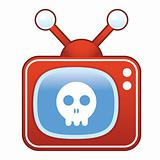Skull on retro TV