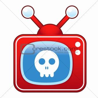 Skull on retro TV