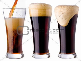 pouring of black beer
