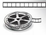A reel of 35mm motion picture film on a white background. Vector
