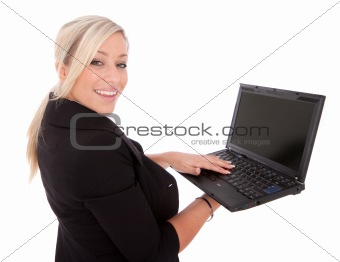 beautiful businesswoman uses laptop and Internet
