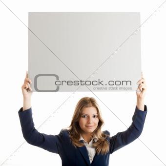 Business Woman holding a billboard