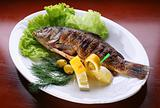 Dish with fish by a carp