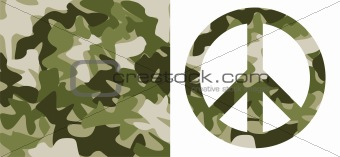 Camouflage pattern and Peace Symbol