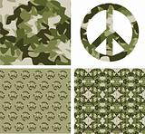 Camouflaged peace patchs