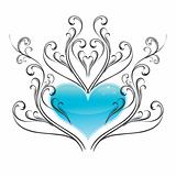Shiny ice heart with winter-style vector ornament. Ideal for t-shirt design.