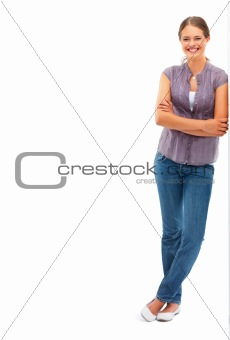 A stylish lady standing on white background