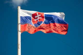 Slovakia flag against blue sky